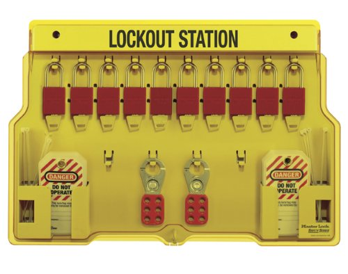 Lockout Tagout Station - Master Lock 10-Pack Lockout Station with Cover, Includes 10 Aluminum Padlocks
