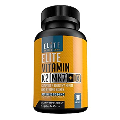Vitamin K2 (MK7)180 Mcg + D3 5000IU Supplement for Stronger Bones and a Healthy Heart by Elite Source Labs™ Vitamin D & K Non-GMO Vegetable Magnesium Formula Men and Women 90 Veggie Capsules