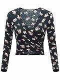 KIRA Women's Floral Crop Top Deep V Neck Long Sleeve Cross Wrap Crop Tops(L,Pink Floral)