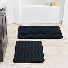 Bedford Home 2 Piece Memory Foam Bath Mat, Black