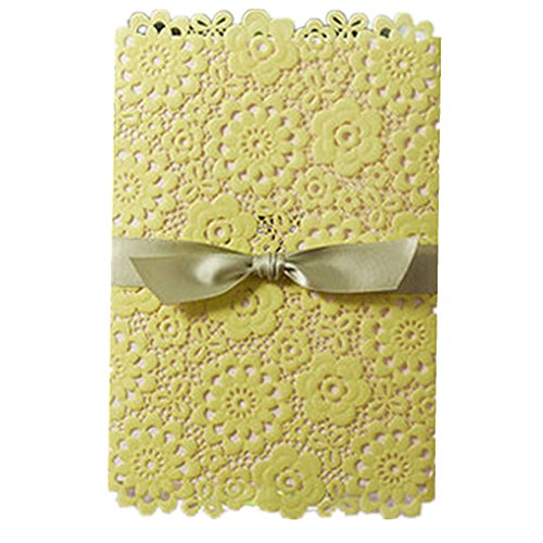 Everyshine Yellow Laser Cut Lace Floral Flower Wedding Invitations (50) (Yellow Cut Flowers)