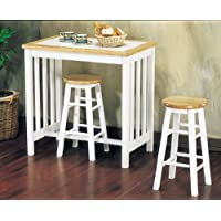3pc Breakfast Table & Stools Set Natural & White Finish