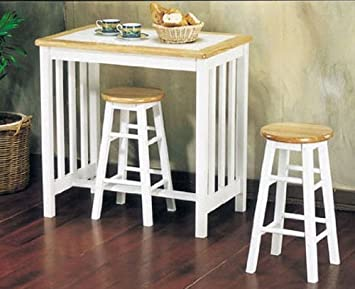Exceptionnel Amazon.com   3pc Breakfast Table U0026 Stools Set Natural U0026 White Finish   Table  U0026 Chair Sets