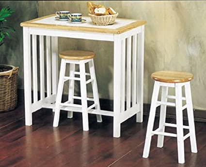 Metro Natural White 3Pc Breakfast Tile Top Bar Set