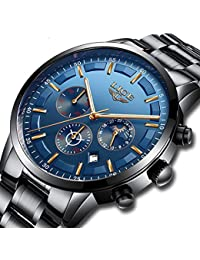 Mens Stainless Steel Blue Classic Luxury Casual Watches with Multifunctions Chronograph Sport Watches Waterproof 30M Moon Phase Business Fashion Quartz Wrist Watch for Men