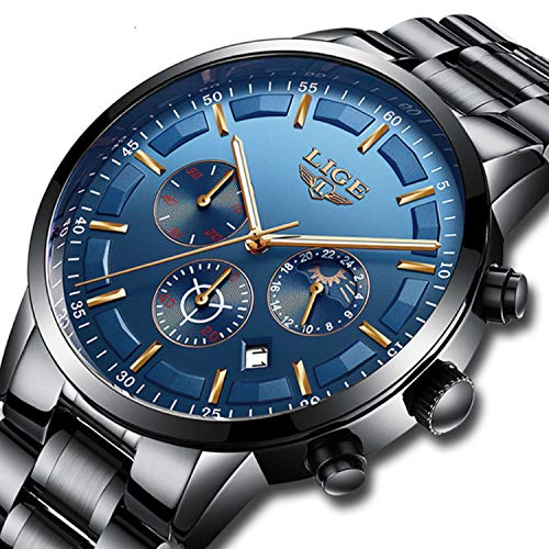 Mens Stainless Steel Blue Classic Luxury Casual Watches with Multifunctions Chronograph Sport Watches Waterproof 30M Moon Phase Business Fashion Quartz Wrist Watch for Men (Wrist Chronograph Phase Moon Watch)