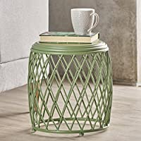 Brassel Indoor 15 Inch Lattice Matte Green Iron Side Table