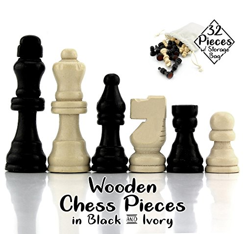 Attatoy Black & Ivory Colored Set of Complete Wooden Chess Pieces (32 pieces), Wooden Replacement Chess Figures with Kings, Queens, Castles, Knights & Pawns (Black & Ivory Colored)
