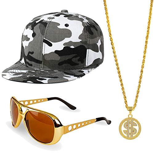 ZeroShop 80s/90s Hip Hop Costume Kit - Cotton Bucket Hat,Gold Chain Beads,Oversized Rectangular Hip Hop Nerdy Lens Sunglasses (OneSize, Grey2)