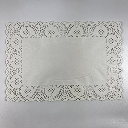 (Pack of 50) Black Cat Avenue 10'' x 14 1/2'' Disposable White Rectangular Lace Paper Doilies by Black Cat Avenue