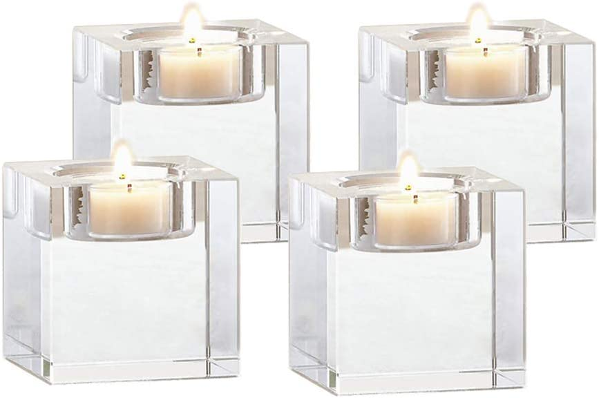 Odowalker Clear Crystal Candle Holders Tea Light Holders Candleholders Candlesticks Romantic Elegant Centerpieces Solid Square for Wedding and Anniversary Home Décor Candlelight (4pcs 2×2×1.6 inch): Home & Kitchen