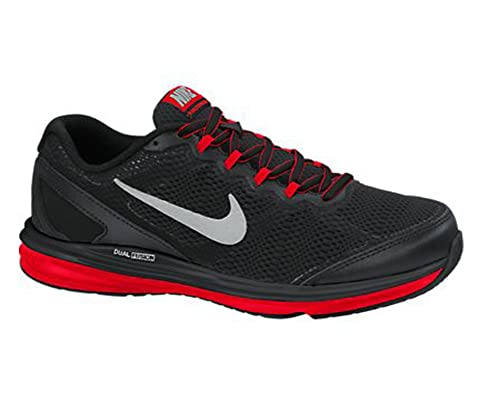 newest 65bcf 7b59e Nike Boy s Dual Fusion Run 3 Running Shoe (3. 5Y-7Y) Black Challenge Red Wolf  Grey Metallic Silver Size 6 M US  Buy Online at Low Prices in India -  Amazon. ...