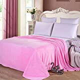Candy Color Flannel Bed Blanket Sheet Extra Soft Warm Plush Easy Care Lightweight Fluffy Bedding Blankets for Baby Sleeping Bed Room Bedroom