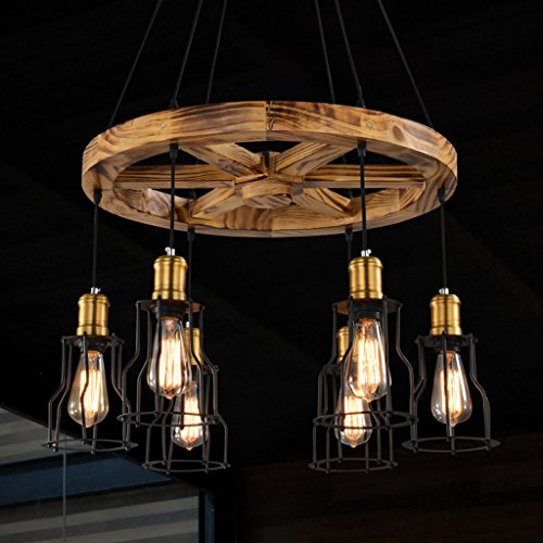(Baycher Chandeliers Iron Lampshade Round Wood Pendant Ceiling Light, Industrial Style/Retro/Black American Village Helmsman Wheel Candle Chandelier With 8 Lights E27 (Size : Six heads))
