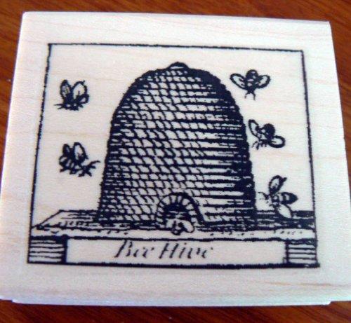 Honey beehive rubber stamp, vintage WM P39