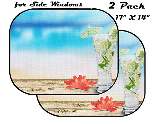 MSD Car Sun Shade for Side Window - UV Protector for Baby and Pet - Block Sunlight - Image of Cocktail Alcohol ice Lime Drink Mojito Summer Refreshment Juice Glass Fruit Mint Cold Rum Tropical
