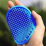 Tpingfe Pet Dog Cat Bath Brush Comb Rubber Glove Hair Fur Grooming Massaging Massage Mit (Blue)