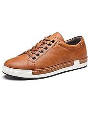 Homme Baskets à Lacets Casual Basses Chaussures en Cuir Travail Business Sneakers Sport Noir 39