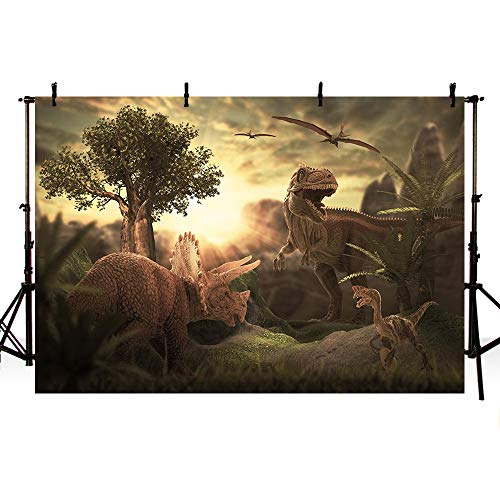 MEHOFOTO Photo Background Children Dinosaur Theme Party Banner Wallpaper Backdrop for Photography 7x5ft