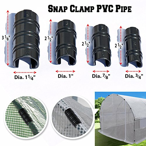 BenefitUSA Black Snap Clamp 3/4 inch x 1-1/2 Wide for 3/4 inch PVC Pipe Greenhouse Banner Frame Shelters, Pack of 10 (3/4 inch x 1-1/2 Wide) by BenefitUSA (Image #3)