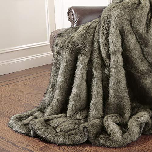 Best Home Fashion Tawny Fox Faux Fur Throw Blanket - 58