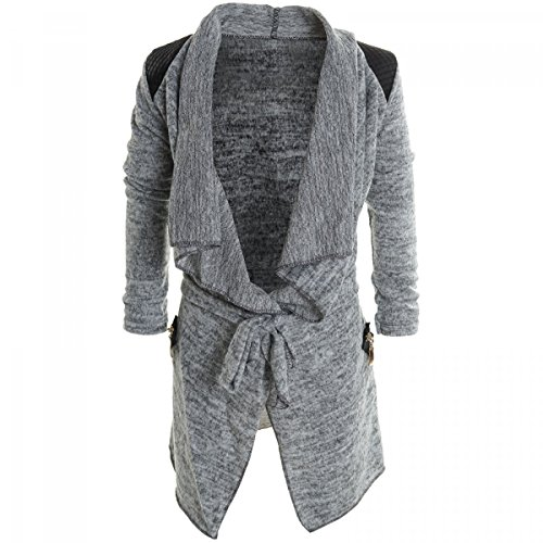 Mädchen Cardigan Kinder Bluse Kleider Langarm Shirt Longsleeve Sweatshirt 20265, Farbe:Grau;Größe:128