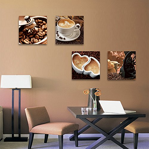 CrmArt – Coffee Bean Coffee Cup Giclee Canvas Prints Wall Art Decor Framed Ready to Hang – 4 Panels Modern Artwork Painting Contemporary Pictures for Kitchen Dining Home Decoration
