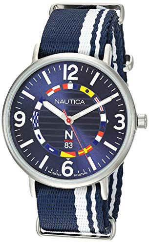 Nautica N83 Men's NAPWGS902 Wave Garden Blue/White Stripe Fabric Slip-Thru Strap Watch