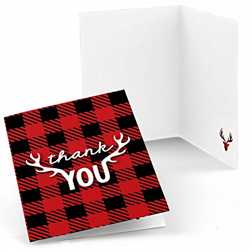 (Big Dot of Happiness Prancing Plaid - Christmas & Holiday Buffalo Plaid Party Thank You Cards (8 Count))