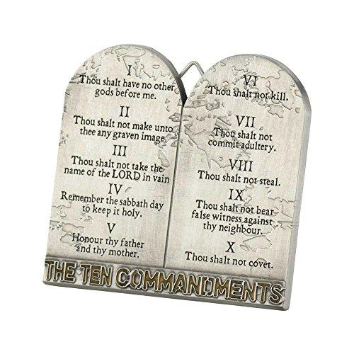 The Ten Commandments Tablets 3 Inch Metal Easelback Wall Cross Sign ()