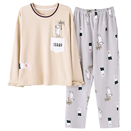 ShenZuYangShop Pijamas Pijamas de algodón de Manga Larga de Primavera y otoño señoras Pijamas de Color