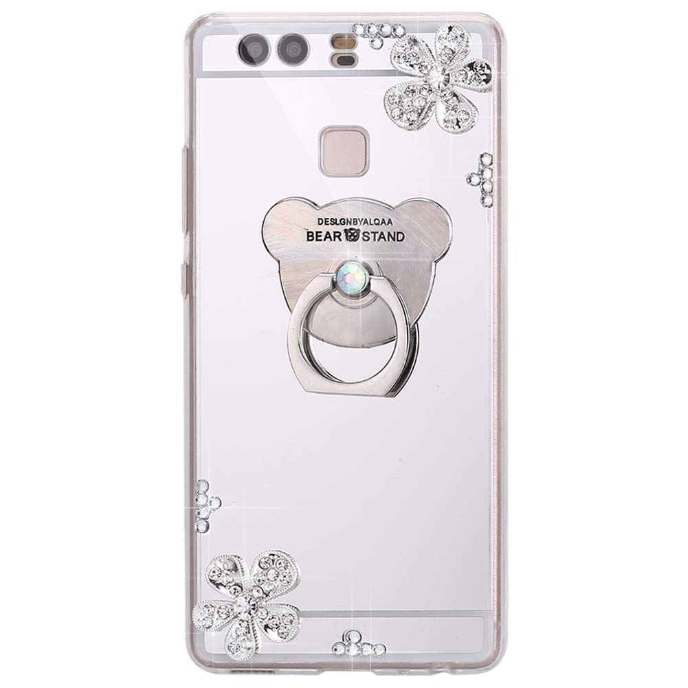 ISAKEN Custodia per Huawei P9, Cover Huawei P9 Morbido Silicone TPU Bumper Ultra Sottile Specchio Cover Glitter Bling Custodia con Diamante [Ring Holder], Rose Gold FASNO031325