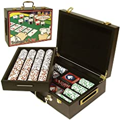 Trademark 500 Four Aces Chips In Deluxe Case Poker Chip Set, Brown