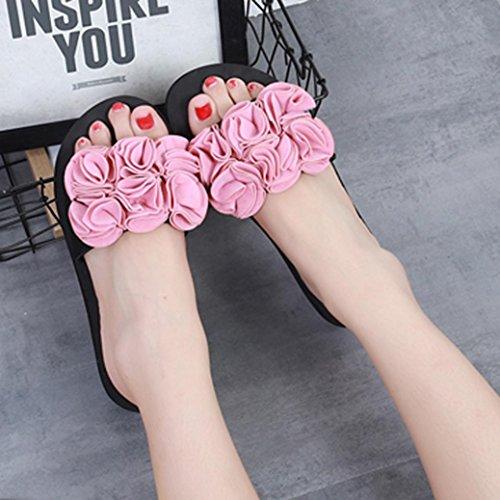 Outdoor LHWY Blumen Schwarz Sandalen Schuhe Sommer Flip Rosa Slipper Damen Mädchen Rosa Indoor Strand Lässige Frauen Rot Flops twzqFrAw