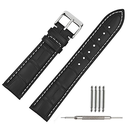 TStrap Genuine Leather Watch Band 21mm Black Watch Strap Bracelet w/ Watch Clasp Buckle Men