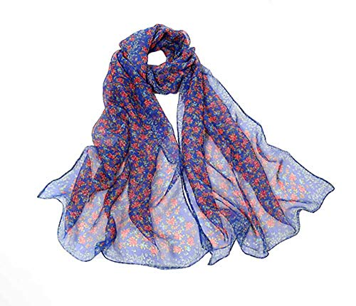 Women's Silk Feeling Scarf Fashion Scarfs Lightweight Sunscreen Scarves Wraps Shawls for Ladies and Girls (Floral Blue)