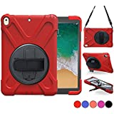 New iPad 5th/6th Generation, iPad 9.7 2018/2017 Case, Protective Cover with 360 Degree Stand, Handle Hand Grip & Carrying Shoulder Strap for Kids Apple 9.7 Tablet Skin A1893/A1954/A1822/A1823 - Red