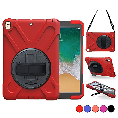 New iPad 5th/6th Generation Cases, iPad 9.7 2018/2017 Case, Hard Protective Cover With 360 Degree Stand, Handle Hand Grip & Carrying Shoulder Strap For Kids 9.7 Tablet Skin A1893/A1954/A1822/A1823 Red (Skin Ipad Cases)