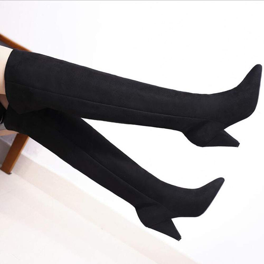 Ladies Fall Winter Retro High-Heeled Round Head Winter Plus Velvet Boots Color : Black, Size : 38 New Over-The-Knee Boots YaXuan Womens Long Boots for Office /& Daily