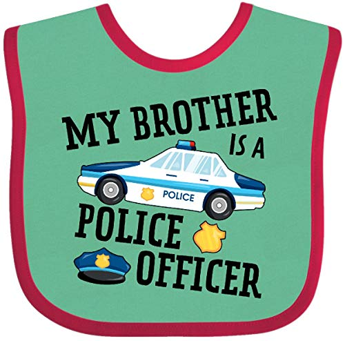 - Inktastic - My Brother is a Police Officer Baby Bib Green and Red 2f987