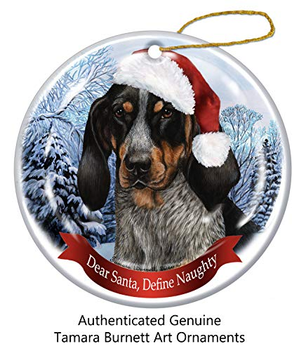 Holiday Pet Gifts Blue Tick Coonhound Santa Hat Dog Porcelain Christmas Tree Ornament