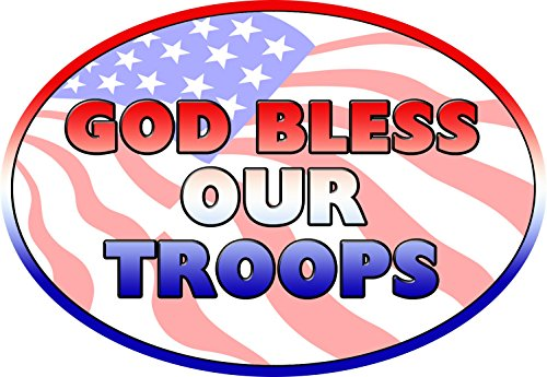 God Bless Our Troops Magnet For Car or Home 3-3/4 by 5-1/4 inches