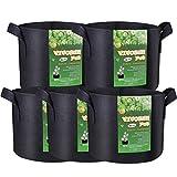 VIVOSUN 5-Pack 5 Gallon Grow Bags Heavy Duty 300G Thickened...