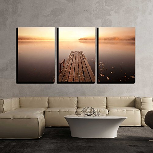 Small Wooden Pier on Lake Wall Decor x3 Panels