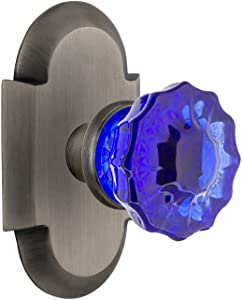 Nostalgic Warehouse 724199 Cottage Plate Privacy Crystal Cobalt Glass Door Knob in Antique Pewter, 2.75