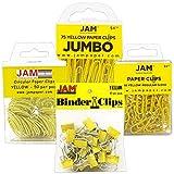 JAM PAPER Office Clip Assortment - Yellow - (1) Binder Clips (1) Round Paper Cloops and (2) Paper Clips (Regular & Jumbo) - 4/Pack