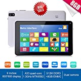 Goldengulf Newest 9 Inch Ultra Slim Design Android 4.4 Tablet PC - Quad Core 8GB Storage - Complete with Touch Screen, WIFI, Dual Camera, Bluetooth, Highly Recommend (white)