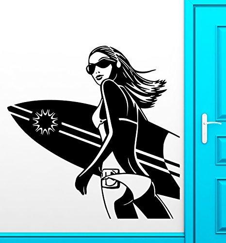 Pegatinas para pared de vinilo para carcasa con diseño de mujer en la playa Extreme Surf Diseño de chica con deportes para tabla de: Amazon.es: Hogar