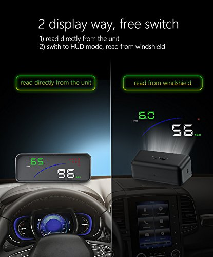 YICOTA Universal Head Up Display For Cars With OBDⅡ And EU-OBD Port 12V Multifunction HUD Speed RPM Voltage Temperature Display And Windshield Reflector by YICOTA (Image #5)