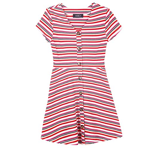 Amy Byer Girls' Big Faux Button Front Knit Dress, Red/Multi Sporty Stripe L